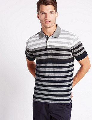 Tailored Fit Pure Cotton Striped Polo Shirt, NAVY MIX, catlanding