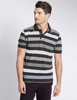 Pure Cotton Tailored Fit Block Striped Polo Shirt, BLACK MIX, catlanding