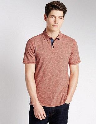 Pure Cotton Striped Polo Shirt, APRICOT, catlanding