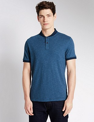 Pure Cotton Tailored Fit Spotted Polo Shirt, INDIGO, catlanding