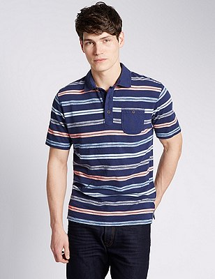 Pure Cotton Tailored Fit Textured Striped Polo Shirt, INDIGO MIX, catlanding