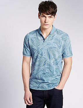 Pure Cotton Palm Leaf Print Polo Shirt, BLUE MIX, catlanding