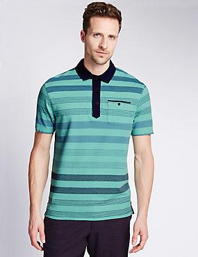 Pure Cotton Striped Polo Shirt, MINT MIX, catlanding