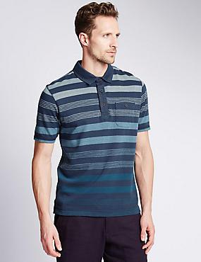 Pure Cotton Striped Polo Shirt, INDIGO MIX, catlanding