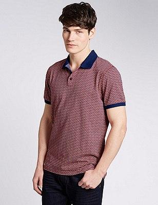 Pure Cotton Tailored Fit Geometric Print Polo Shirts, DARK ROSE, catlanding