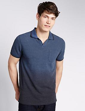 Dip Dye Tailored Fit Polo Shirt, INDIGO, catlanding