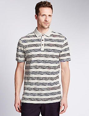Pure Cotton Tailored Fit Striped Polo Shirt, ECRU, catlanding