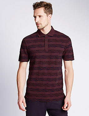 Pure Cotton Tailored Fit Striped Polo Shirt, BURGUNDY, catlanding
