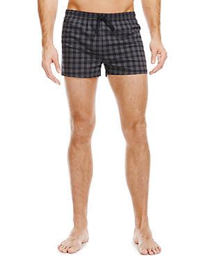 Quick Dry Checked Swim Shorts, NAVY MIX, catlanding