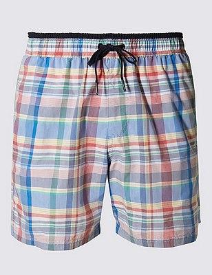 Quick Dry Checked Swim Shorts, MULTI, catlanding