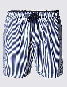 Quick Dry Seeksucker Striped Swim Shorts, BLUE MIX, catlanding