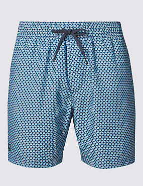 Quick Dry Geometric Print Swim Shorts