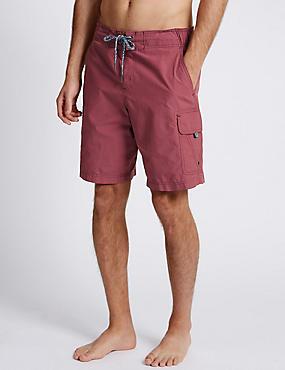 Cotton Rich Quick Dry Cargo Swim Shorts, RASPBERRY, catlanding