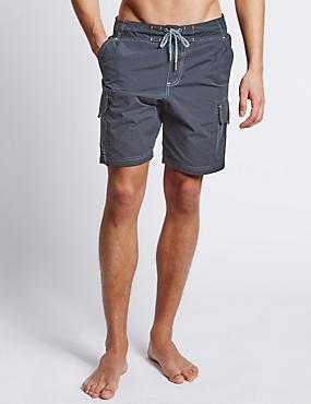 Cotton Rich Quick Dry Cargo Swim Shorts, NAVY, catlanding