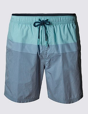 Quick Dry Striped Swim Shorts, AQUA MIX, catlanding