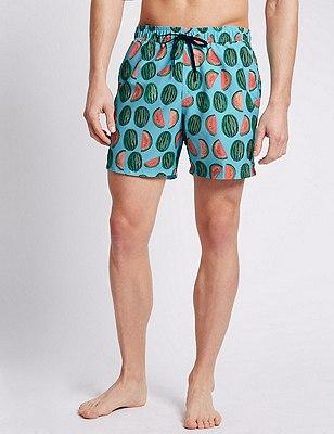 Quick Dry Watermelon Print Swim Shorts, AQUA MIX, catlanding