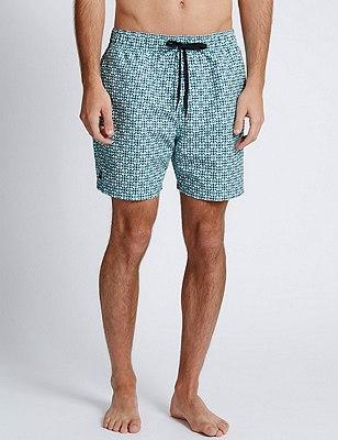 Quick Dry Geometric Print Swim Shorts, JADE MIX, catlanding