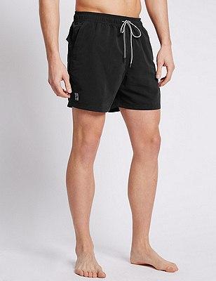 Quick Dry Swim Shorts, BLACK, catlanding