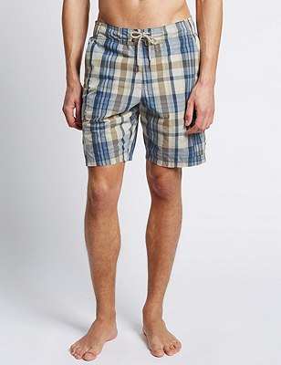 Quick Dry Checked Cargo Swim Shorts, NEUTRAL, catlanding