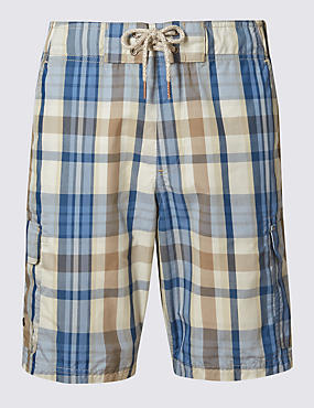 Quick Dry Checked Cargo Swim Shorts