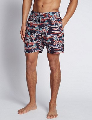 Quick Dry Vintage Style Palm Print Swim Shorts, NAVY MIX, catlanding