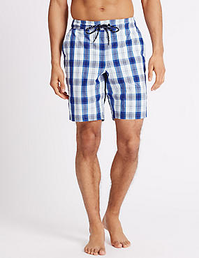Quick Dry Checked Swim Shorts, WHITE MIX, catlanding