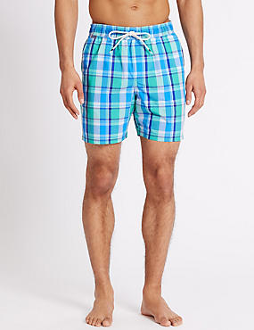 Quick Dry Checked Swim Shorts, GREEN MIX, catlanding