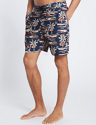 Quick Dry Palm Print Swim Shorts, NAVY MIX, catlanding