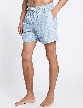 Quick Dry Printed Swim Shorts, PALE BLUE MIX, catlanding