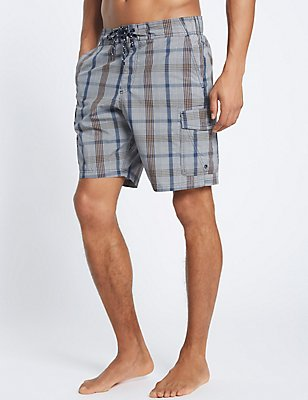 Cotton Rich Quick Dry Checked Swim Shorts, NEUTRAL, catlanding