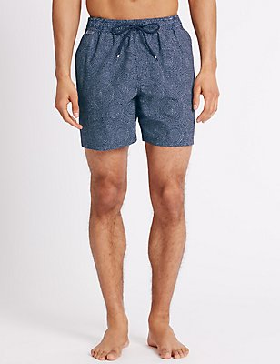 Quick Dry Printed Swim Shorts, NAVY MIX, catlanding