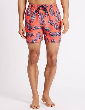 Quick Dry Printed Swim Shorts, CORAL MIX, catlanding