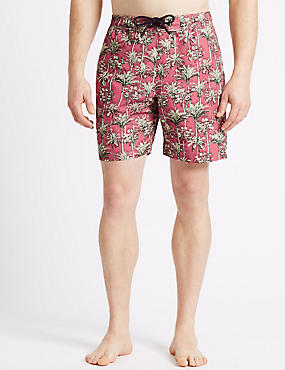 Quick Dry Printed Swim Shorts, RASPBERRY MIX, catlanding