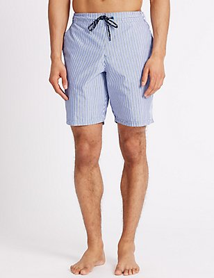 Quick Dry Striped Swim Shorts with Pocket, BLUE MIX, catlanding