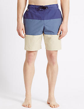 Cotton Rich Quick Dry Swim Shorts, NAVY MIX, catlanding