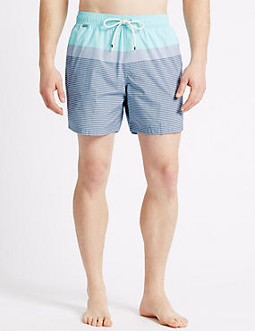 Quick Dry Striped Swim Shorts, AQUA MIX, catlanding