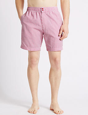 Quick Dry Seersucker Swim Shorts, PINK MIX, catlanding