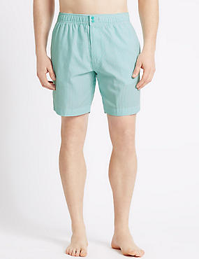 Quick Dry Seersucker Swim Shorts, GREEN MIX, catlanding