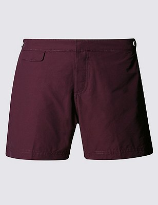Tailored FitMid LengthQuick DrySwim Shorts, WINE, catlanding