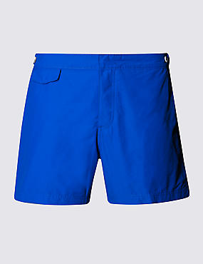 Tailored FitMid LengthQuick DrySwim Shorts, COBALT, catlanding