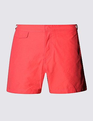 Tailored FitMid LengthQuick DrySwim Shorts, CORAL, catlanding