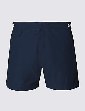 Tailored FitMid LengthQuick DrySwim Shorts, NAVY, catlanding