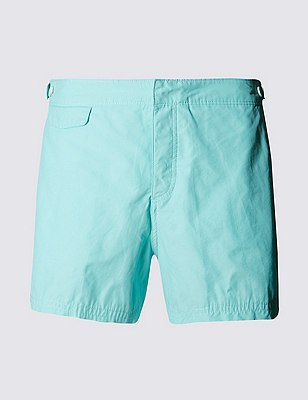 Tailored FitMid LengthQuick DrySwim Shorts, AQUA MARINE, catlanding