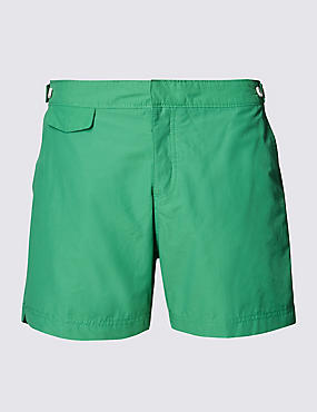 Tailored FitMid LengthQuick DrySwim Shorts, GREEN, catlanding