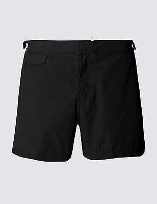 Tailored FitMid LengthQuick DrySwim Shorts, BLACK, catlanding