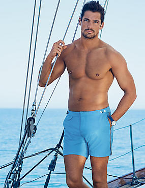 Tailored FitMid LengthQuick DrySwim Shorts , BLUE, catlanding