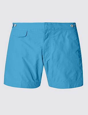 Tailored FitShortLengthQuick Dry Swim Shorts, BLUE, catlanding