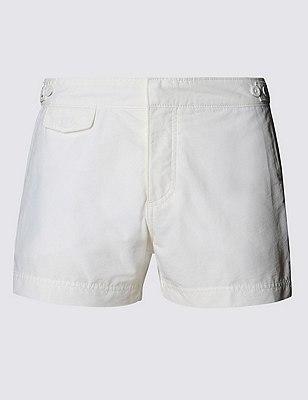 Tailored FitShortLengthQuick Dry Swim Shorts, SOFT WHITE, catlanding