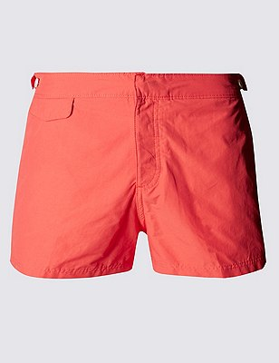 Tailored FitShortLengthQuick Dry Swim Shorts, CORAL, catlanding