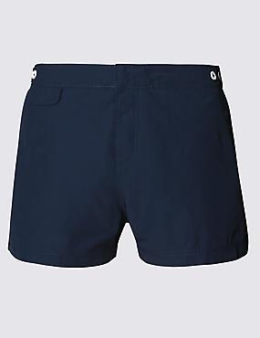 Tailored FitShortLengthQuick Dry Swim Shorts, NAVY, catlanding